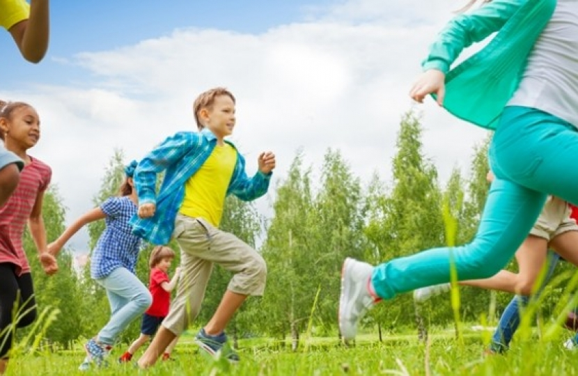 children running in summertime