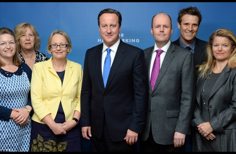 David Cameron (Centre), with the six South West Conservative candidates for 2014
